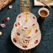 欧式陶瓷干果盘三层下午茶点心盘多层水果串盘婚庆蛋糕盘架篮批发