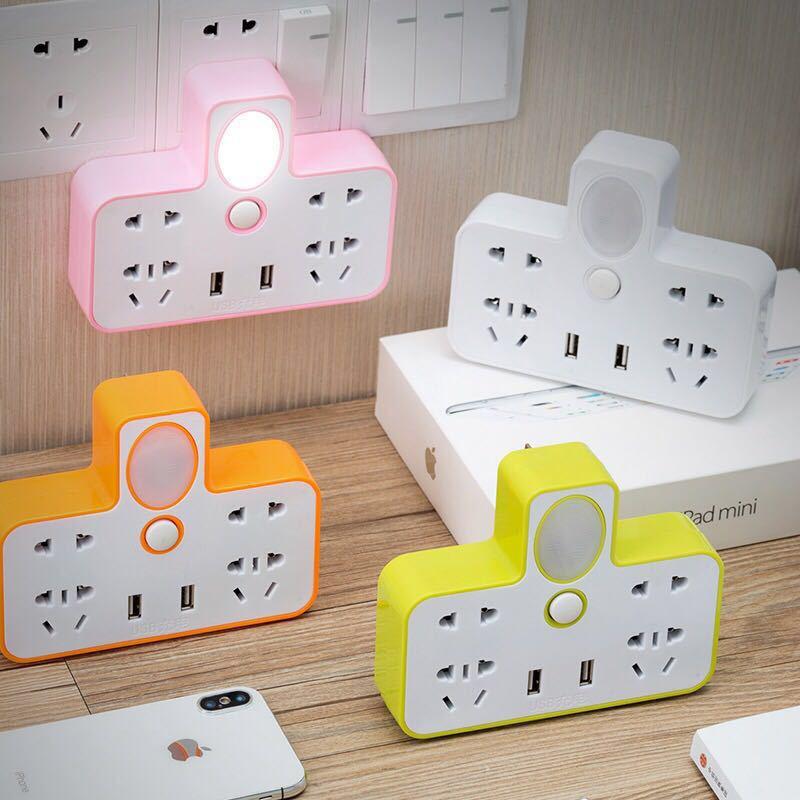 家用接线排插 创意转换器插座 智能夜灯无线插排 带开关usb拖线板