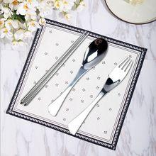 不銹钢304鱼尾勺叉餐具 304鱼尾勺叉筷三件套 便携韩式餐具套装