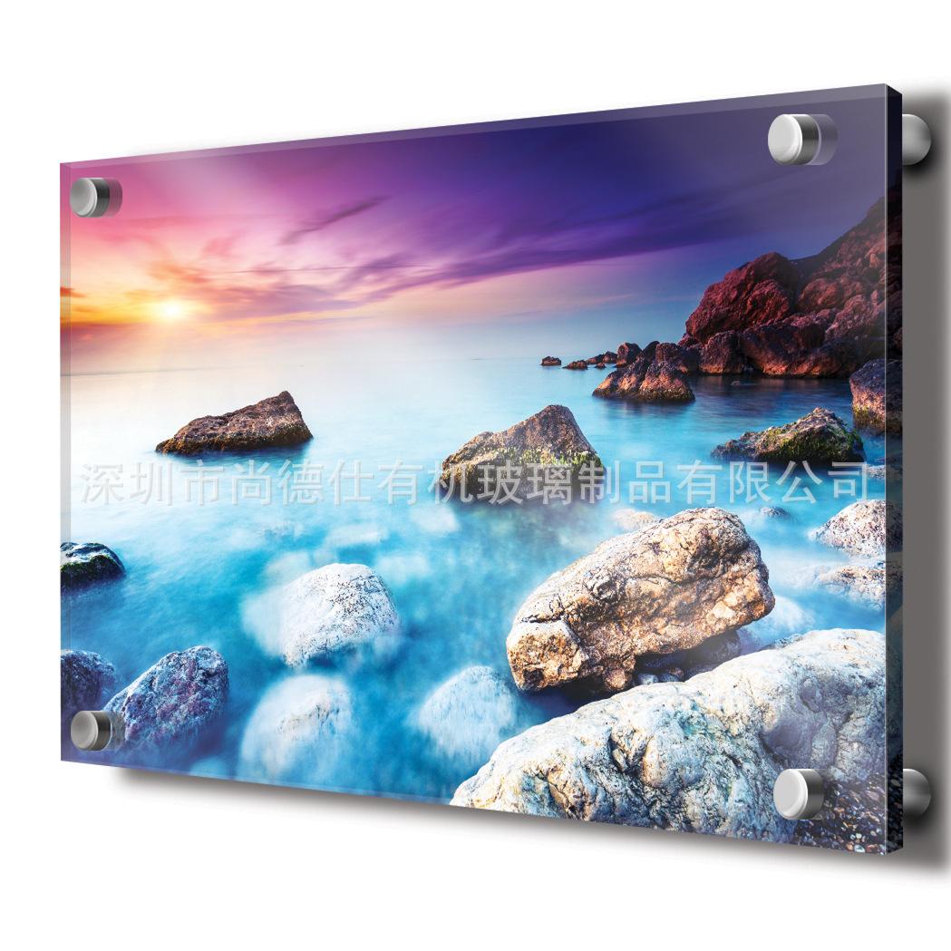 定制亚克力无框画 现代壁画uv打印 装饰画高清打印 平板打印