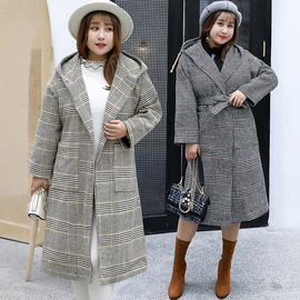 Winter new increase plus fat MM large size casual woolen plaid coat 1559