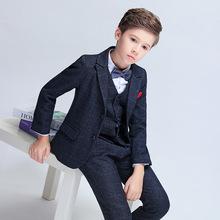 男兒童西裝2018新款冬季加絨毛呢小西服花童禮服廠家直銷一件代發
