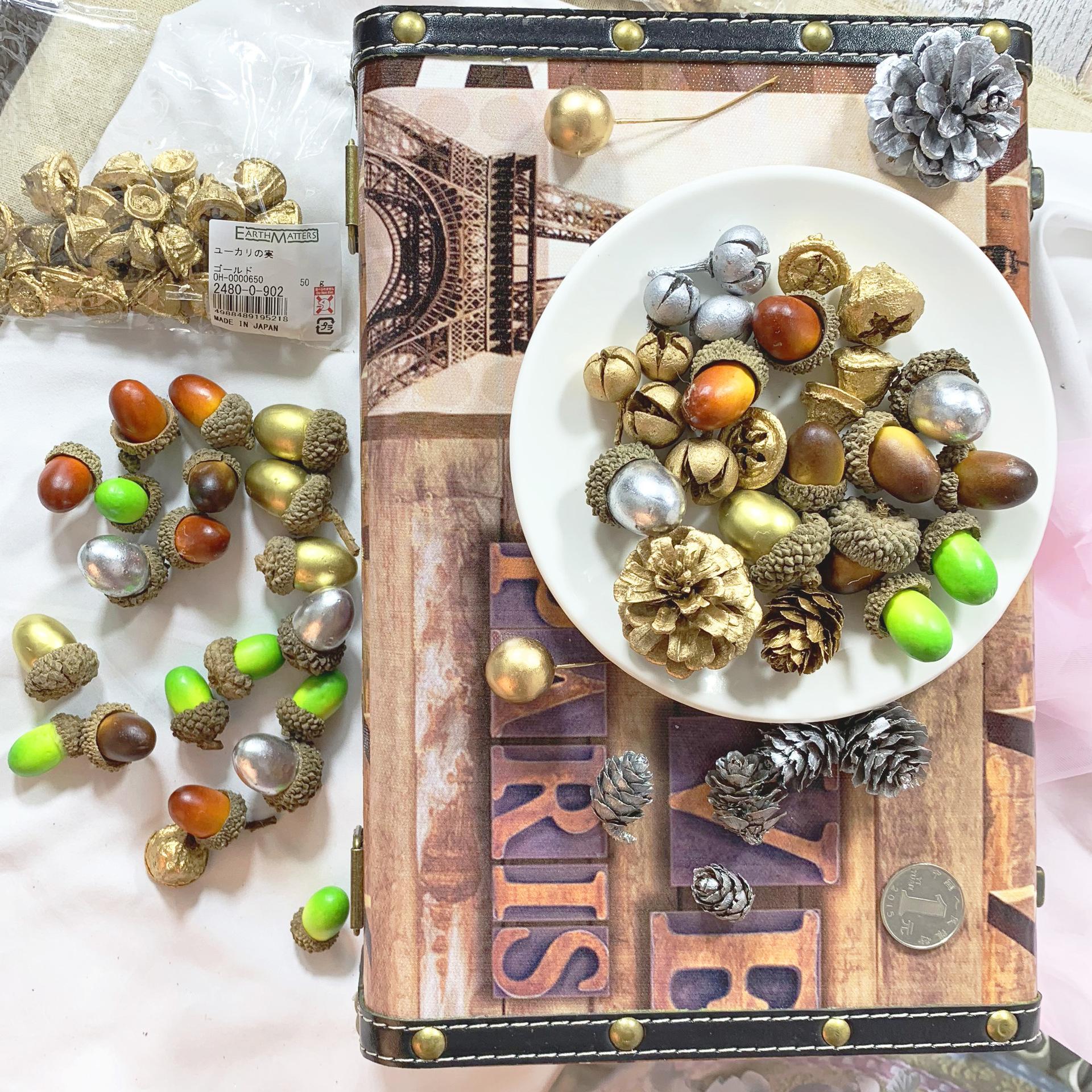 永生花装饰果实配材/金银色果子/松果/橡果圣诞果搭配花盒花房果