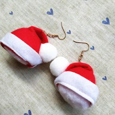 欧美圣诞饰品可爱圣诞帽耳饰CE368