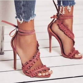 Fashion sexy ruffled simple sexy Roman high heel sandals  explosions fast sale through source