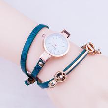 速卖通爆款长细表带PU方格三圈缠绕手表小表头镶钻手链小香手表