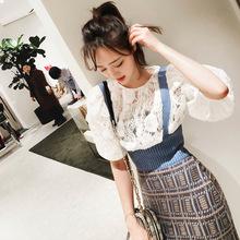 Lin 2018春装新款拼色花纹不对称开衩木耳边针织吊带连衣裙女装
