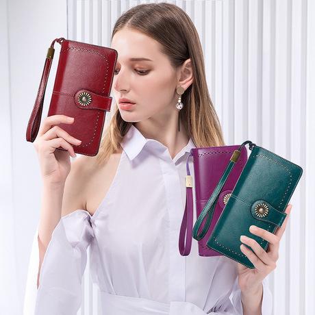 Ví tùy chỉnh RFID Châu Âu và Mỹ ví nữ dài dây kéo da ví nữ ví tiền dung lượng lớn ly hợp thế hệ túi