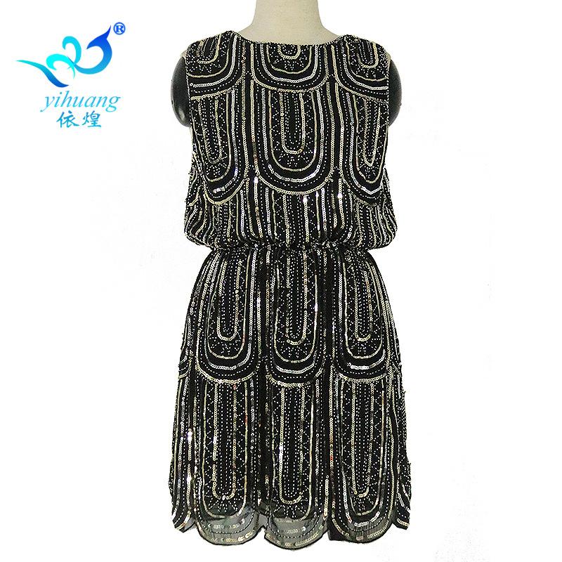 新款亮片无袖连衣裙1920复古风背心珠片聚会礼服束腰钉珠小礼服