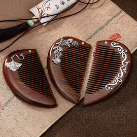 One deer silver S925 sterling silver mosaic leaf retro pattern personality creativity high-grade sandalwood comb gift