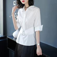 气质优雅白衬衫女2019夏季新款短款百搭时尚七?#20013;?#32465;带衬衣白领薄