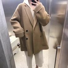2020秋冬新款韩国面料双面呢羊绒大衣女羊毛女士外套中长款j76