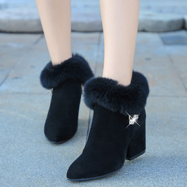 New women's boots in Europe and the United States Martin boots pointed thick heel fashionable water drill rabbit hair autumn and winter warm boots