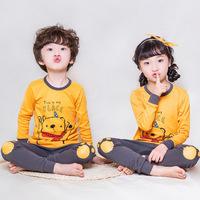 Осенняя одежда новая коллекция детские чистый хлопок Qiuyi Qiuku комплект на мальчика на девочку Нижнее белье на дому хлопок Один свитер оптовые продажи