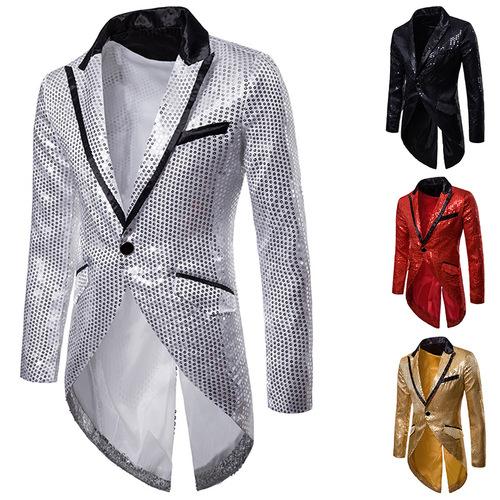 Men's jazz performance suit blazers groomsmen jacket Sequin design evening dress tuxedo men's Lapel West suit