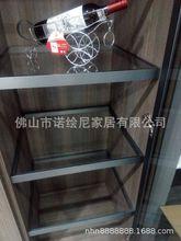 高档别墅衣帽间衣柜门 铝框玻璃人体感应层板灯 极窄边框极简风格