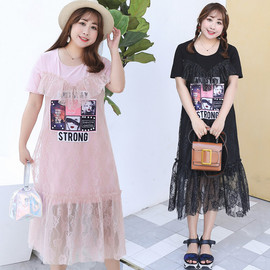 Summer new large size women's lace dress sweet fake two women's skirt fat MM clothing generation 1186