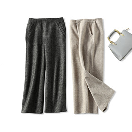 18 autumn and winter new products Elegant commute Warm and comfortable Thicken herringbone wool casual wide-leg pants women