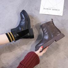 2020新款真皮馬丁靴英倫風學生韓版短靴圓頭騎士前拉鏈秋冬款女鞋