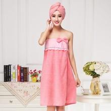 厂家直销珊瑚绒抹胸浴裙干发帽发带吸水毛巾超细纤维浴裙可定制