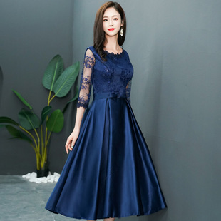 Navy blue evening dress female 2021 spring new mid-length banquet dress thin lace long-sleeved dress