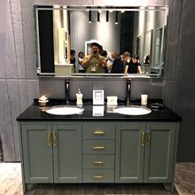 美式地中海落地实木浴室柜组合欧式田园橡木双盆洗脸洗手盆柜组合