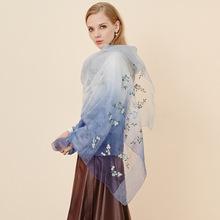 厂家直销春夏女新款桑蚕丝羊毛围巾 绣花渐变色防晒真丝披肩丝巾