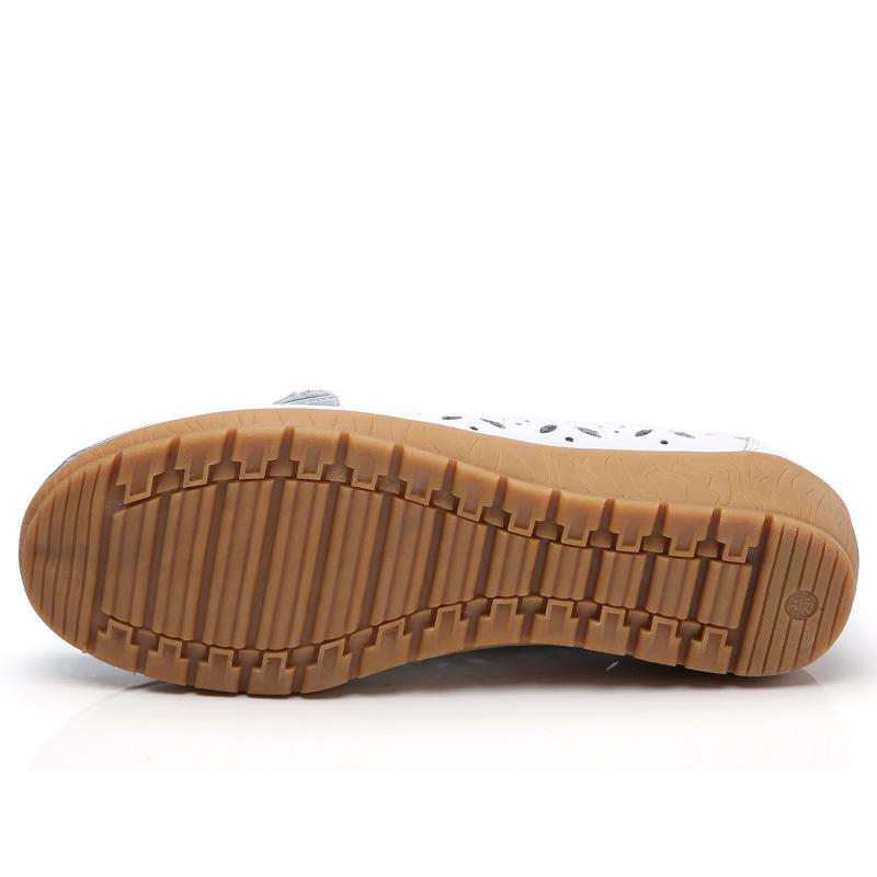 夏季镂空新款真皮中老年妈妈鞋女单鞋豆豆鞋真皮软底坡跟洞洞鞋