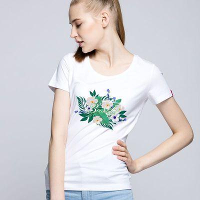 18春夏装新款纯棉短袖t恤 女圆领显瘦田园印花小清新打底衫上衣服