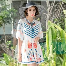 韩版夏季时尚成人泳衣防晒长袖清爽速干款式连体裙女士小清新泳装