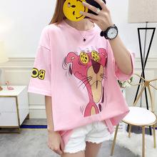 19夏季新款印花T恤女韩版特大码女装300斤短袖宽松200-240斤上衣