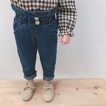 阿木猴童褲2018新款女童寶寶高腰牛仔褲嬰幼兒純色松緊腰牛仔長褲