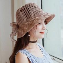 帽子女士韓國新款蝴蝶結純色針織漁夫帽百搭韓版大沿遮陽帽盆帽潮