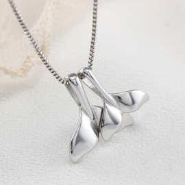 925纯银项链 前任3气质鱼尾海豚吊坠项链 女 韩版纯银饰品