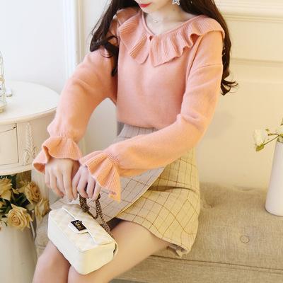 荷叶领套头毛衣女短款新款宽松韩版学生喇叭袖打底针织衫