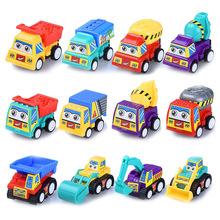 兒童工程回力車小汽車迷你貨運推土攪拌挖掘機五只裝 款式隨機