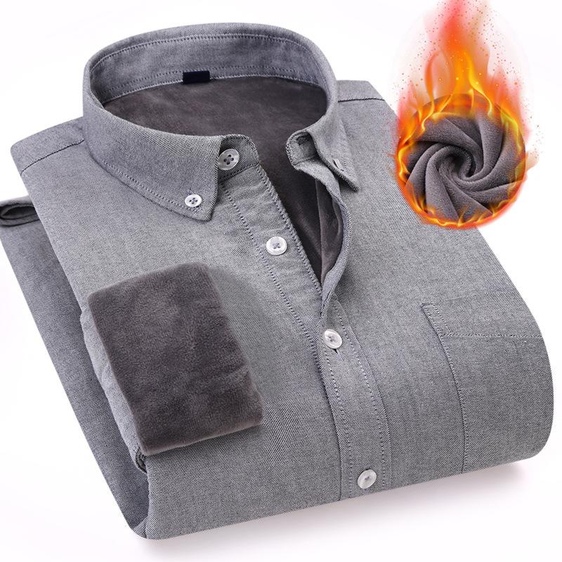 東雨男装 保暖加绒衬衫男纯棉条纹牛津纺男士长袖衬衫男修身衬衣