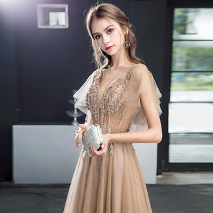 Long evening dress female 2021 new ladies temperament host golden dignified atmosphere banquet annual party dress skirt