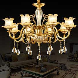全铜水晶吊灯美式客厅吊灯餐厅灯现代家居装修灯饰灯具纯铜吊灯