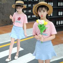 女童裙套装2018春季新儿童花朵韩版中大童露肩两件套童装一件代发