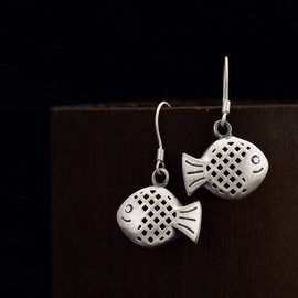 One deer silver S925 pure silver retro hollowed-out fish personality high-grade art lady earrings and earrings