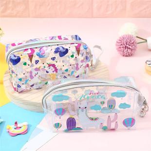 New transparent cosmetic bag cartoon printing transparent pillow bag unicorn PVC student large-capacity transparent pencil case