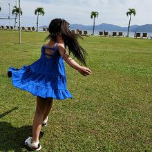 2018夏季新款 韩版女童连衣裙 女童可爱吊带裙 后背镂空沙滩裙