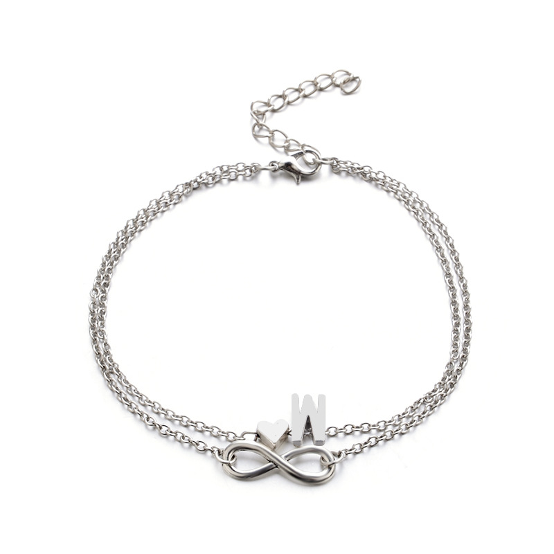 Heart-shaped 26 letter alloy anklet bracelet NHPV152518