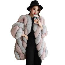 HM&AE新款仿皮草外套中长款人造毛皮拼色上衣仿狐狸毛圆领大衣