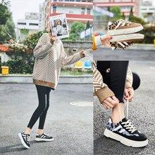 豹纹松糕鞋女厚底2018新款学生韩版百搭加绒运动鞋冬季系带休闲