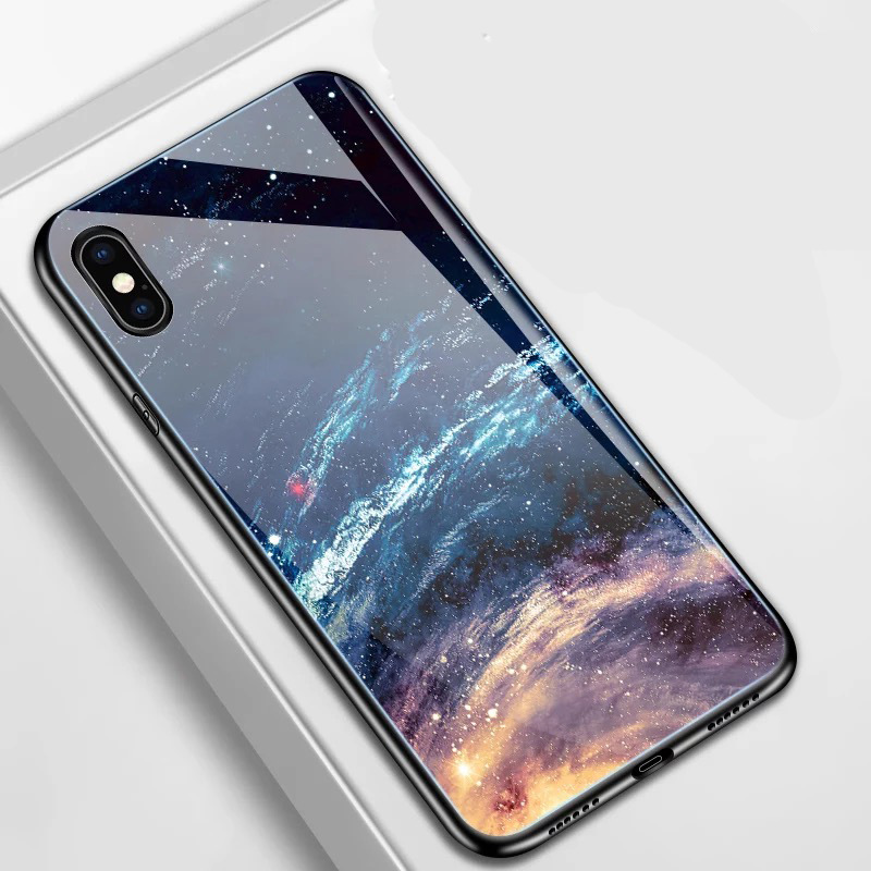Applicable iPhoneXS/RMAX Stained Glass Mobile Phone Case Apple 7/8plus All-inclusive Star Steel Shield