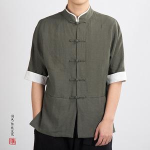 Chinese tang suit  linen men stand collar cotton hemp men Tang pan button short sleeve shirt