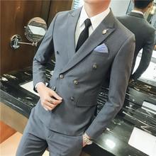 2019年爆款男士休闲西装双排扣设计修身男士西服套装礼服两件套