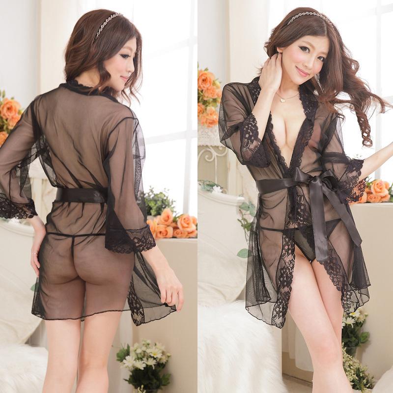 批发情趣内衣女式网纱性感睡衣系带蕾丝和服浴袍睡裙3件套装批发